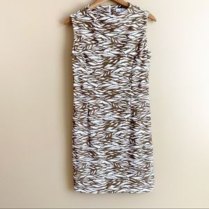 JUDE CONNALLY sleeveless sheath dress brown zebra